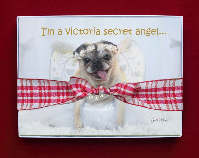 BOXED HOLIDAY Cards - I'm A Victoria Secret Angel - Pug Holiday Cards - 5x7 -