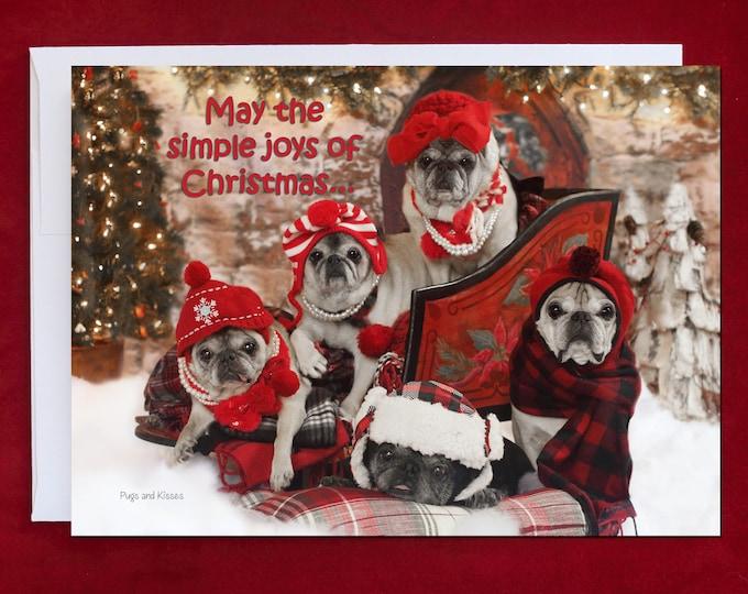 Funny Holiday Card - Simple Joys of Christmas - 5x7 - Pug Card