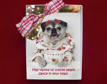 ALL NEW Boxed HOLIDAY Cards - Vision of Coffee Beans - Pug Holiday Cards - 5x7
