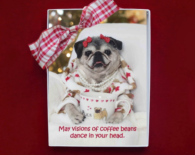 BOXED HOLIDAY Cards - Vision of Coffee Beans - Pug Holiday Cards - 5x7