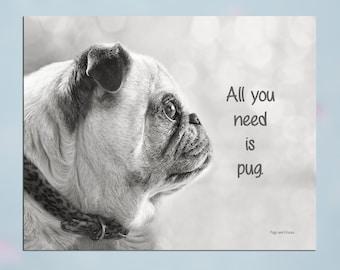 Pug Wall Art - All You Need Is Pug - Pug Art Print - Pug Gift - Pug Gift by Pugs and Kisses 5x7 8x10 11x14 16x20