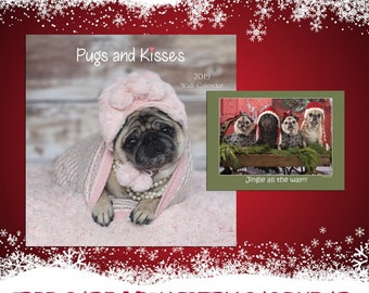 2019 Wall Calendar AND FREE CARD - Pugs and Kisses