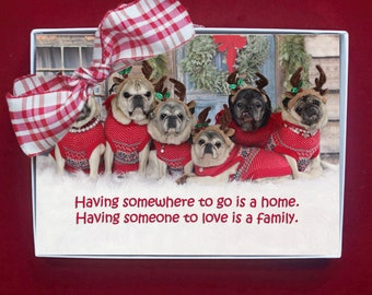 BOXED CHRISTMAS Cards - Having Somewhere to Go - pug christmas cards - 5x7