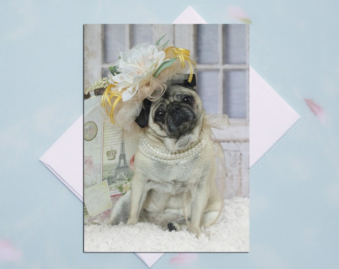 BLANK Card - Fancy Fascinator - All Occasion PUG Greeting Card- Pug Gift - Pugs and Kisses - 5x7