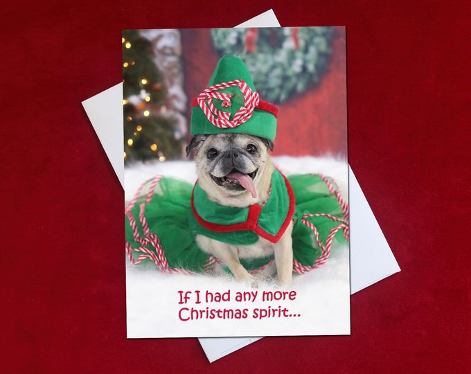 Funny Christmas Card - If I Had Any More Christmas Spirit - Pug Christmas Card -  5x7