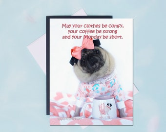Pug Magnet - May Your Clothes Be Comfy - 4 x 5 Pug magnet - by Pugs and Kisses