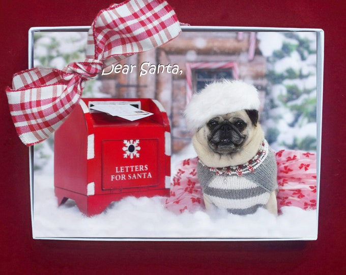 ALL NEW Boxed CHRISTMAS Cards - Is It Too Late To Be Good - Pug Holiday Cards - 5x7