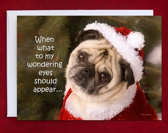 Funny Holiday Card - When What To My Wondering Eyes Should Appear - Pug Holiday Card - 5x7