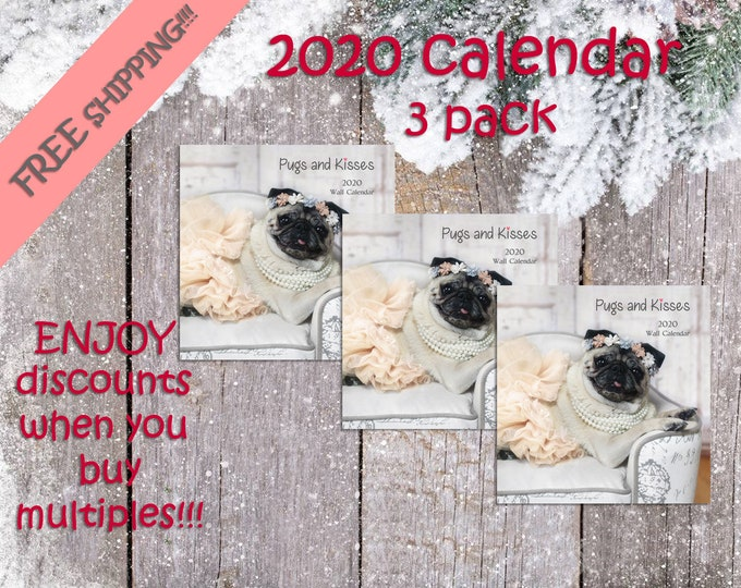 PACK of 3 - 2020 - Wall CALENDAR by Pugs and Kisses