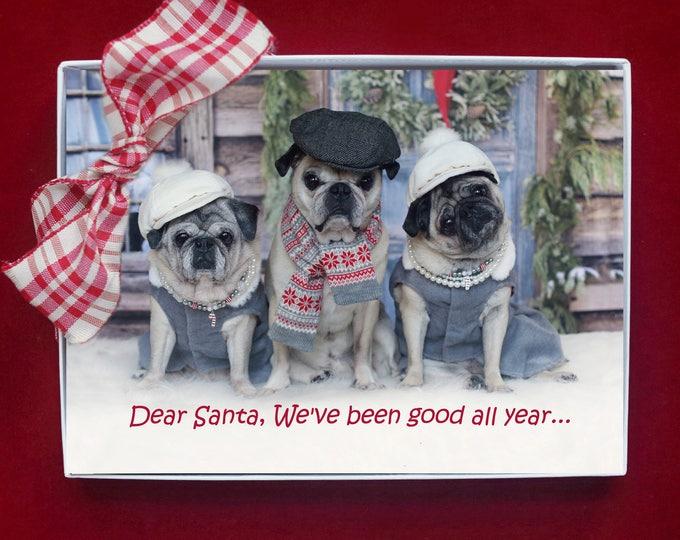BOXED CHRISTMAS Cards - Dear Santa We've Been Good All Year  - pug christmas cards - 5x7