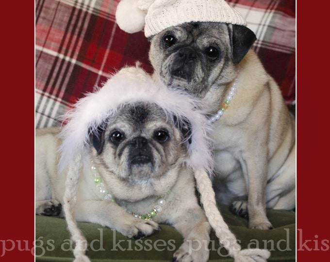 Funny Holiday Card - Home Is Where The Heart Is - Pug Holiday Card - 5x7