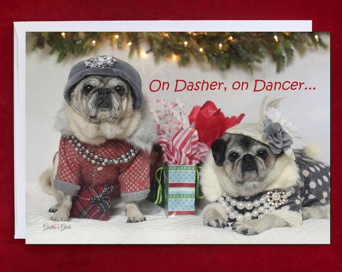Funny Holiday Card - On Dasher On Dancer - Pug Holiday Card - 5x7