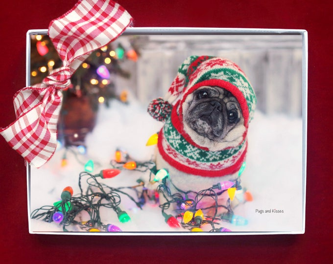 BOXED HOLIDAY Cards - Nailed It - Pug Holiday Cards - 5x7