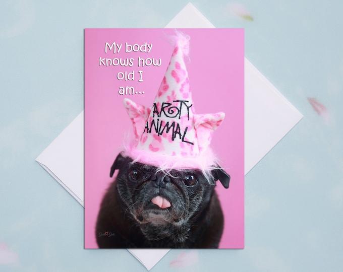 Funny Birthday Card - Pug Dog - Birthday Card - 5x7