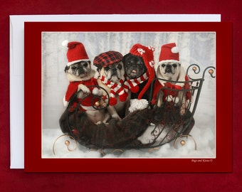 Funny Holiday Card - Sleigh Full of Pug Love - Pug Holiday Card - 5x7 -