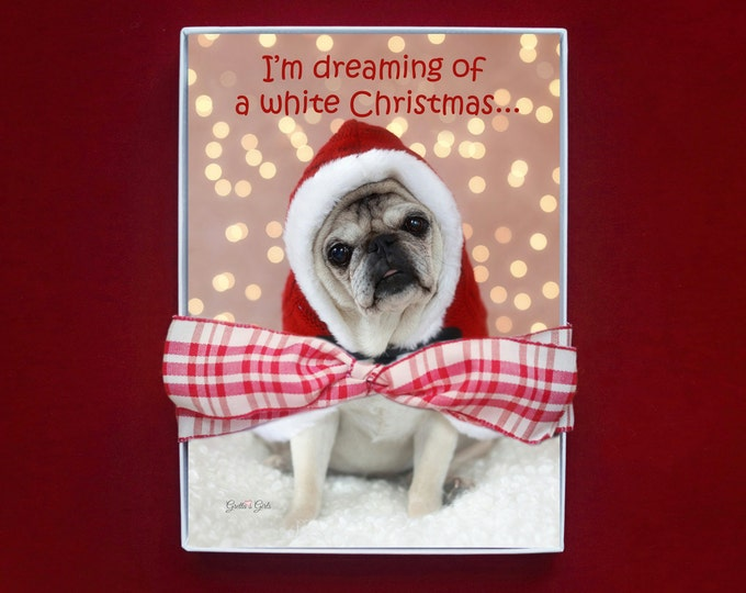 BOXED CHRISTMAS CARDS - I'm Dreaming Of A White Christmas - pug christmas cards - 5x7 -