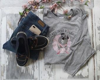 NEW T-Shirt LIGHT GRAY Classic Long Sleeve Pugs and Kisses Women's Logo Pug T-shirt