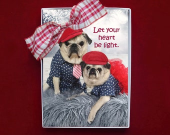 ALL NEW Boxed HOLIDAY Cards - Let Your Heart Be Light - Pug Holiday Cards - 5x7