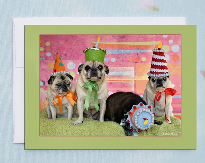 Funny Birthday Card - Party Till You Drop Pug - 5x7