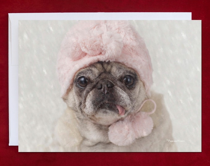 Funny Holiday Card - Let It Snow - Pug Holiday Card - 5x7