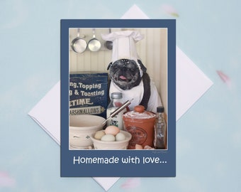 Funny Mother's Day Card - Homemade With Love -5x7 Pug Card Pugs and Kisses