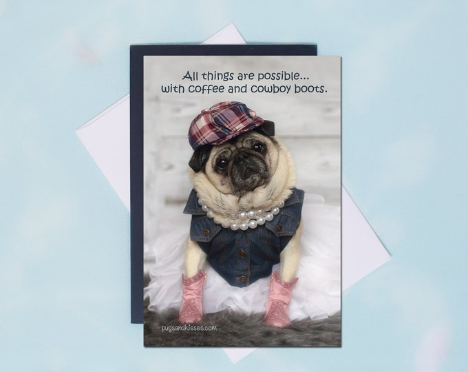 Pug Magnet - Pink Boots  - 4 x 6 Pug magnet by Pugs and Kisses