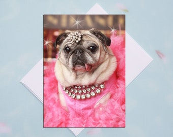 BLANK Card - Pretty in Pink - All Occasion PUG Greeting Card- Pug Gift - Pugs and Kisses - 5x7