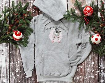 NEW Hoodie Sweatshirt LIGHT GRAY Classic Pugs and Kisses Women's Logo Pug sweatshirt