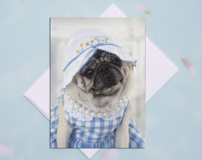 BLANK Card - Yellow Flowers - All Occasion PUG Greeting Card- Pug Gift - Pugs and Kisses - 5x7