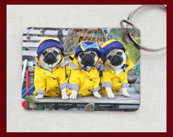 NEW! Pug Keychain - Pug Puppies Fishermen - Gift for Pug Lovers by Pugs and Kisses