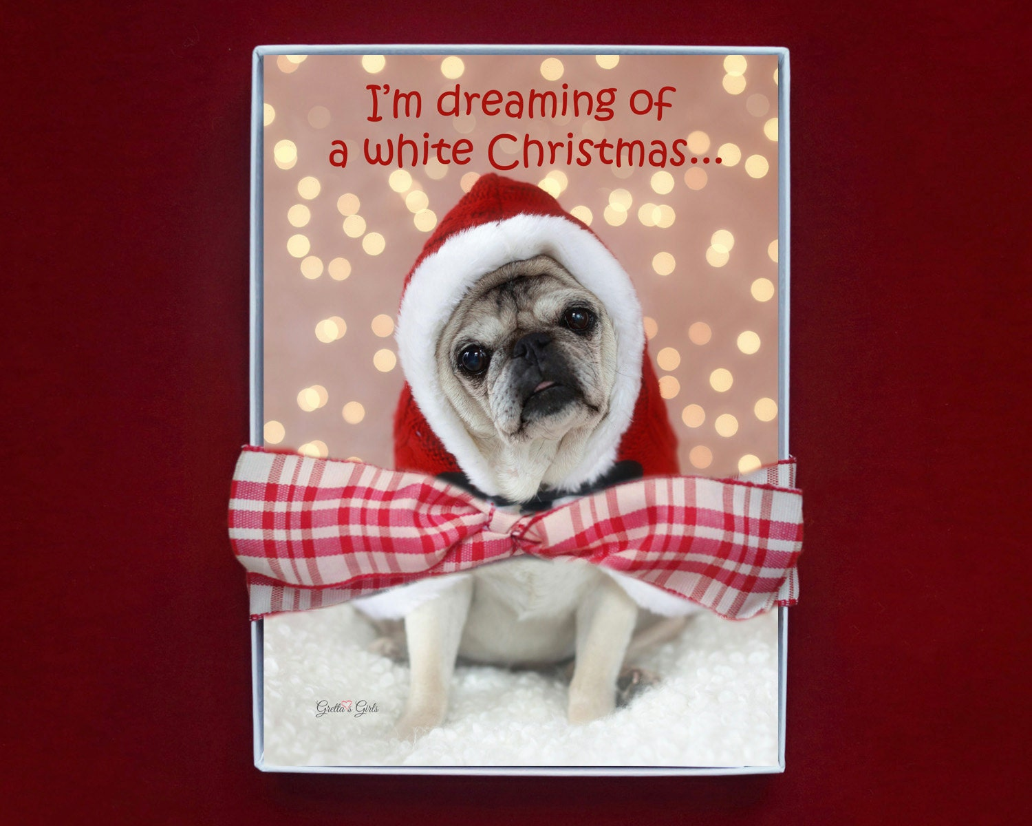 BOXED CHRISTMAS CARDS - I\'m Dreaming Of A White Christmas - pug ...