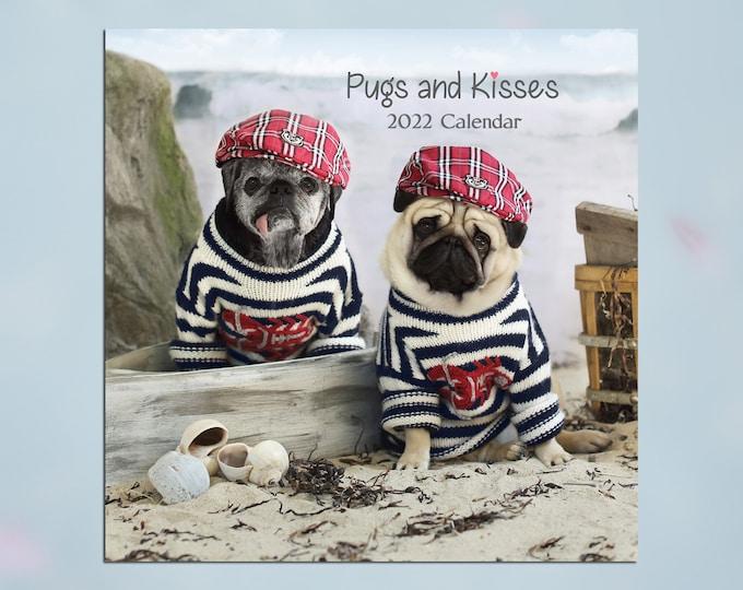 2022 Wall CALENDAR - Pug Calendar - Pugs and Kisses