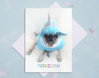 BLANK Card - PUGICORN - All Occasion PUG Greeting Card- Pug Gift - Pugs and Kisses - 5x7