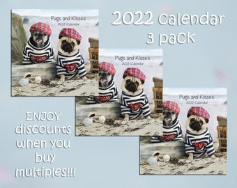 PACK of 3 - 2022 Wall CALENDAR by Pugs and Kisses