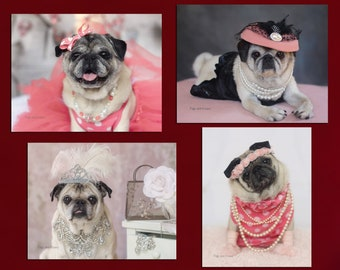 Note Card Set ~ Perfect Gift for Pug Lovers!  - Pretty Pugs Note Cards - 8 Assorted Pug Note Cards - 4x5
