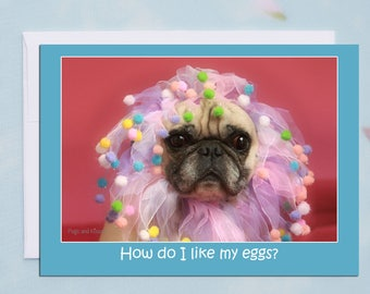 "Funny Birthday Card ""How Do I Like My Eggs?""  - Pug Card - Birthday Cards - 5x7"