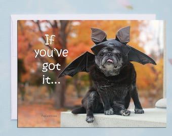 Funny Halloween Card - Pug Card - Cute Card - 5x7