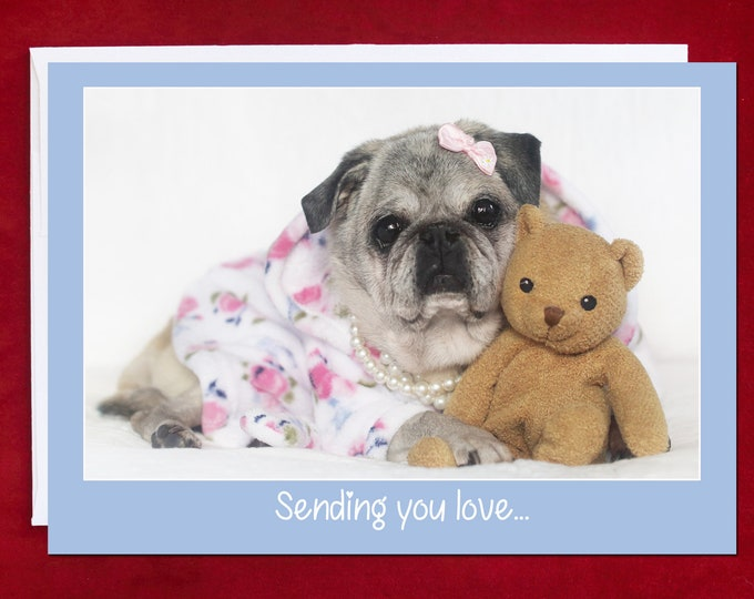 THINKING of YOU CARD - Sending You Love and a Heartfelt Hug - Pug Greeting Card  Pugs and Kisses 5x7