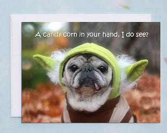 Funny Halloween Card - A Candy Corn In Your Hand I Do See - 5x7