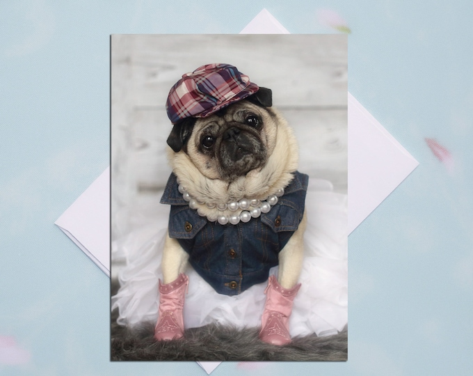BLANK Card - Pink Boots - All Occasion PUG Greeting Card- Pug Gift - Pugs and Kisses - 5x7