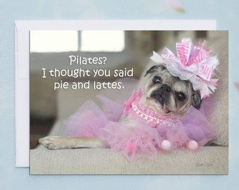 Funny Friendship Cards - Pie and Lattes - Funny Cards for Friends - Blank Cards with Envelopes by Pugs and Kisses