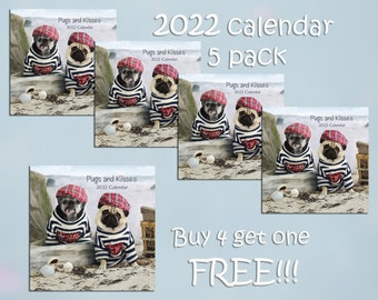 PACK of 5 - 2022 Wall CALENDAR - Pug Calendars by Pug and Kisses