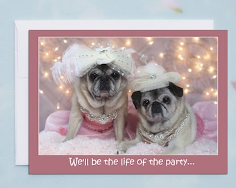 Funny Birthday Card for Her - Life of the Party Happy - Birthday Card by Pugs and Kisses