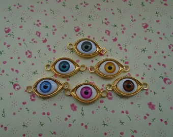 mixed color--50pcs Gold Metal Charms-eye charms pendant 30X20mm