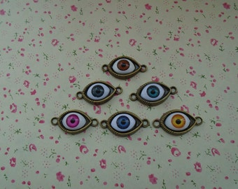 mixed color--50pcs Antique Bronze Metal Charms-eye charms pendant 30X20mm