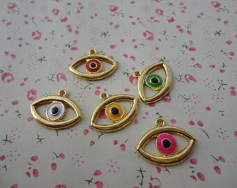 mixed color--50pcs Gold Metal Charms-eye charms pendant 21X16mm