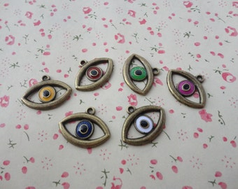 mixed color--50pcs antique brass Metal Charms-eye charms pendant 21X16mm