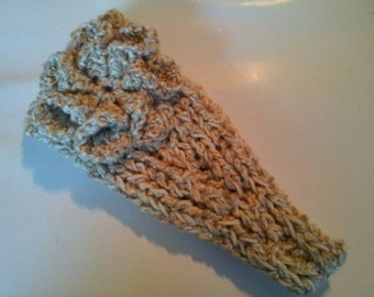Cream / Ivory Chunky Hand-Knitted Hair Wrap / Headband / ear warmer - adult sized Thick Winter Headband With Crocheted Flower