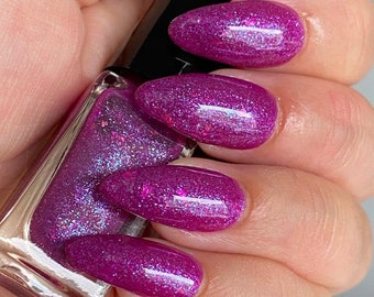 Mermaid Tears~Mermaids Attitude Collection Limited Edition/Small Batch Indie Nail Polish Fuchsia Shimmer 10ML