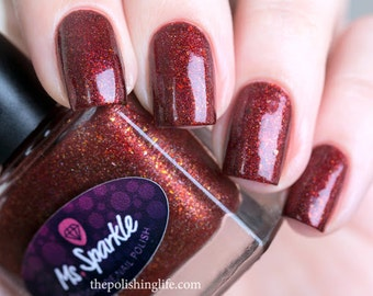 Winter Love ~ Winter Wonderland collectie Indie Nail polish Ultra Chrome Chameleon vlokken rood 10 ML